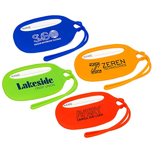150 Custom Durable Silicone Luggage Tag Imprinted with Your Logo or Message by Ummah Promotions