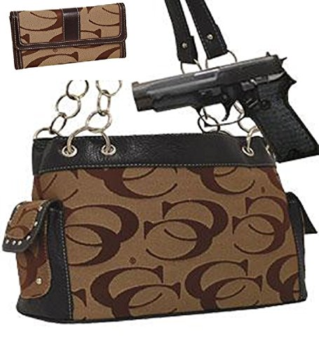 Khaki Fashion Signature Conceal and Carry Purse W Matching Wallet