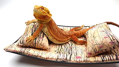 Chaise Lounge for Bearded Dragons, Asian Little Pink Flowers by Carolina Designer Dragons