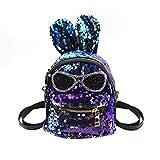 Bags us Women Girls Kids Dazzling Sequins Backpack with Cute Rabbit Ears Schoolbag Shoulder Bag Satchel