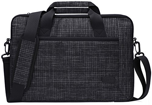 ProCase 13-13.5 Inch Laptop Sleeve Tote Bag with Shoulder Strap and Handle for Laptop Ultrabook MacBook Pro Air Chromebook Notebook Computer Acer Asus Dell HP Lenovo Samsung Sony -Black Plaid