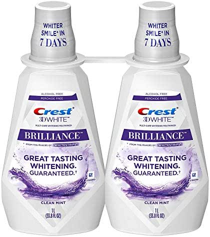 Crest 3D White Brilliance Whitening Mouthwash, Clean Mint (33.8 fl. oz, 2 pk.)