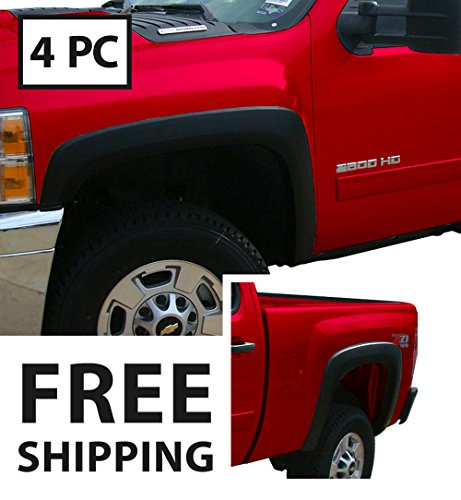 Premium Fender Flares for 2007-2013 Chevy Silverado 1500 2500HD 3500HD (NOT for Sierra; NOT for Short Bed) | Excl. 2007 Classic Models | Find-Textured Matte Black Paintable Factory Style 4pc -
