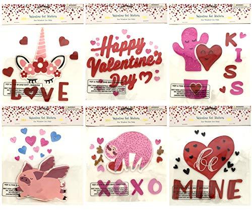 Valentines Day Hearts Love Gel Sticker Window Clings Decoration Bundle