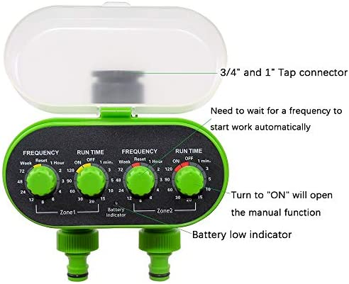 Nologo 2 Outlet Garten Wasserdichter Bewässerungsregler/Automatischer Kugelhahn-Leitungswasser-Timer/Batteriebetrieben/Grün