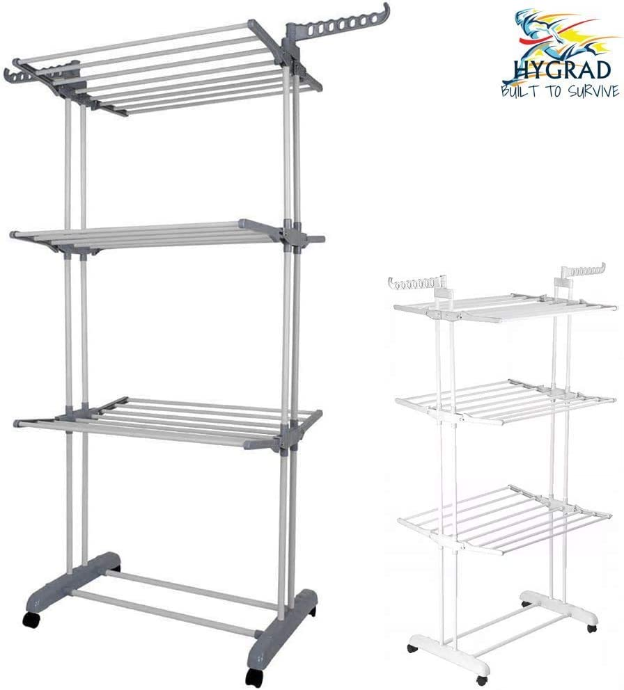 HYGRAD® Clothes Drying Rack 3 Tier Clothes Dryer Stand Foldable Laundry Clothes Rack Organiser UK (Grey)