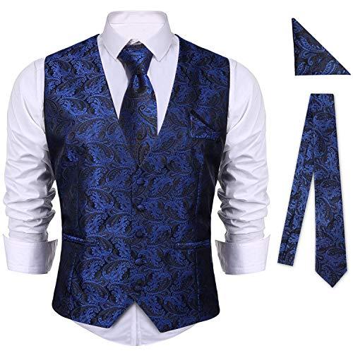 iClosam Chaleco Formal Hombre Clasico Slim Fit Blazers De 3 Piezas Conjunto para Traje De Boda Negocios