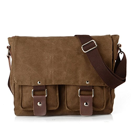 Price comparison product image Peacechaos Messenger Bag Leather Canvas Shoulder Bookbag Laptop Bag + Dslr Slr Camera Canvas Shoulder Bag ¡­ (Brown(2))