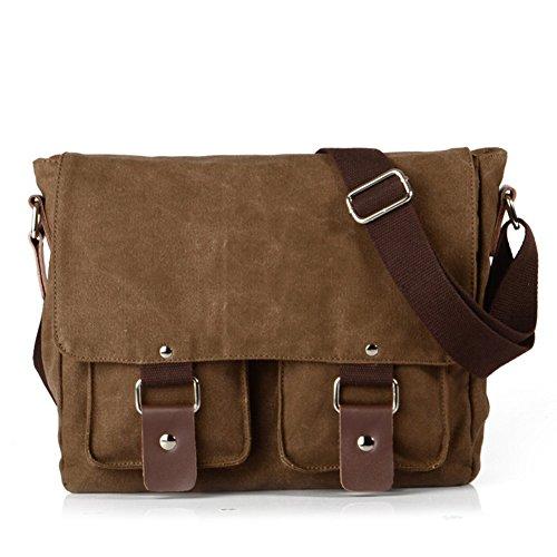 Price comparison product image Peacechaos Messenger Bag Leather Canvas Shoulder Bookbag Laptop Bag + Dslr Slr Camera Canvas Shoulder Bag ¡ (Brown(2))