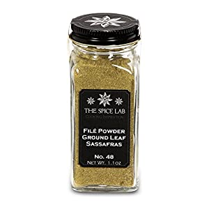 The Spice Lab No. 48 - File Powder (Ground Sassafras Leaves) - Kosher Gluten-Free Non-GMO All Natural Spice - French Jar