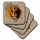 3dRose King of the Jungle Lion and Africa Map art original - Soft Coasters, set of 4 (cst_184661_1)