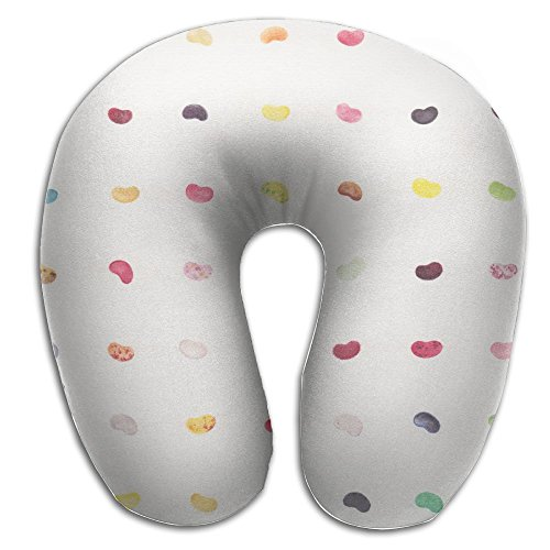 BRECKSUCH Colorful Jelly Beans Print U Shaped Pillow Memory
