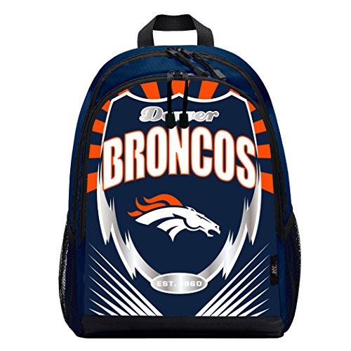 Officially Licensed NFL Denver Broncos Lightning Kids Sports Backpack, Blue, 16.5