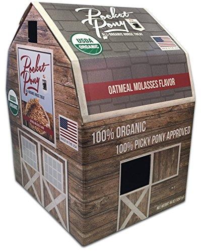Pocket Pony Horse Treats, Made in USA, 100% Organic Human Grade, Grain Free, Gluten Free, Oatmeal & Molasses, 44 oz Box ()