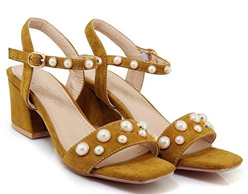 Aisun Women's Dressy Ankle Strap Medium Block Heels Sandals Yellow HA7Xfe