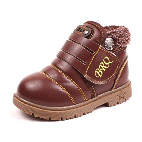 Hunpta Kleinkind Baby Mädchen jungen Kinder Winter Dicke Schnee Stiefel Lederschuhe (Alter: 1-2 Jahren, Schwarz) Braun