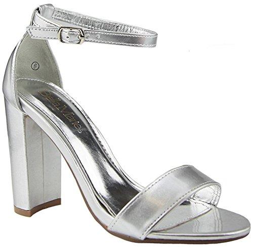 Silver Sandal Strappy Pu Bella Marie Block Women's High Heel ww4UBq0