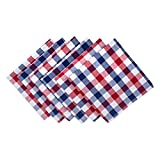 DII 100% Cotton, Oversized Basic Everyday 20x20 Napkin Set of 6, Red, White & Blue Check