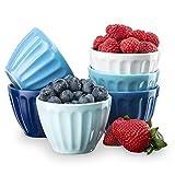 Kook Fluted Dessert 6.7 Ounce Bowls, Assorted White/Blue, (Set of 6)