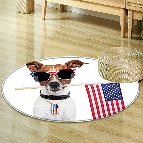 D100 Shade - Round Area Rug Carpet Decor Collection American Dog with USA Flag and Shades Sunglasses Liberty Anniversary Independence Living Dinning Room and Bedroom Rugs