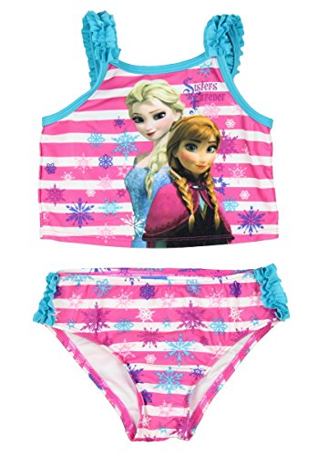 Disney Frozen Little Girls Elsa Anna Two Piece Tankini Swimsuit (2T)