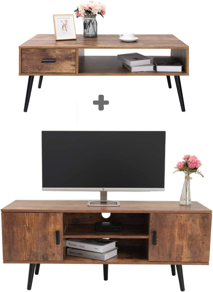 IWELL Mid-Century Coffee Table with Drawer and Shelf, TV Stand with Large Cabinet, TV Console Table, Sofa Table, Office Table, Retro Home Media Entertainment Center for Flat Screen TV Cable Box Gaming