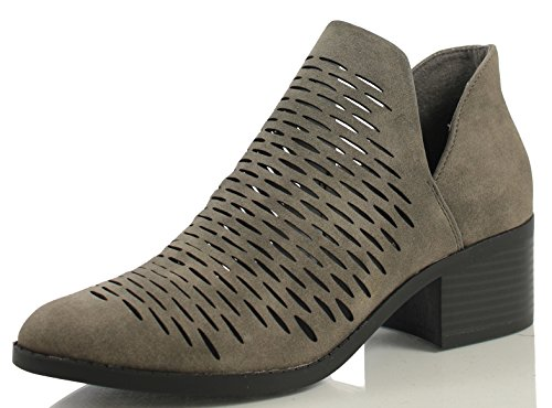 City Classified Women's Tiny Dash Perforations Western V Cutout Side Low Stacked Heel Ankle Bootie