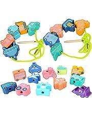 Sinwind Puzzel kralen bouwstenen, 42 stks Houten Kralen Draad Motorik Speelgoed Montessori Toys Educatief Houten Speelgoed voor kinderen van 2 tot 6 jaar