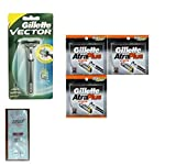 Vector Plus Razor Handle (Made in Thailand) + Atra Plus Refill Razor Blades 10 ct. (Pack of 3) with FREE Loving Color trial size conditioner
