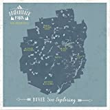 Adirondack Map, Personalized, Push Pin Map, New York State, 20X20 Inches