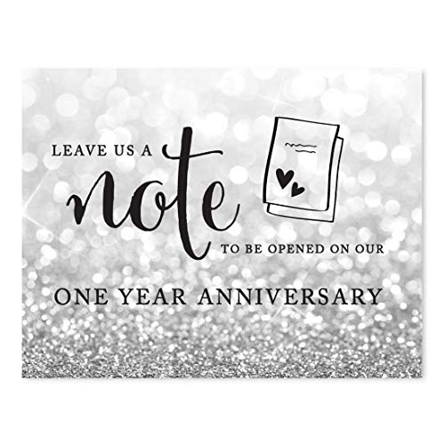 - Andaz Press Wedding Party Signs, Glitzy Silver Glitter, 8.5x11-inch, Time Capsule Leave Us A Note to Be Opened On Our One Year Anniversary Sign, 1-Pack