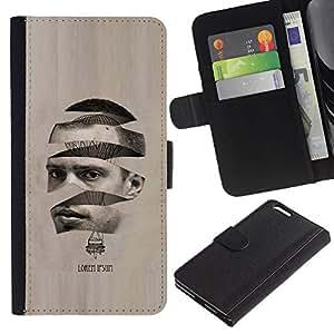LASTONE PHONE CASE / Lujo Billetera de Cuero Caso del tirón Titular de la tarjeta Flip Carcasa Funda para Apple Iphone 6 PLUS 5.5 / Art Man Hot Air Balloon