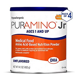 PurAmino Junior Hypoallergenic Unflavored Toddler Drink Powder for Severe Food Allergies, 14.1 Ounce (Pack of 4) - Omega 3 DHA, Probiotics, Iron, Immune Support