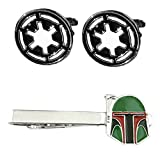 Outlander Imperial Cufflink & Boba Fett Tiebar - New 2018 Star Wars Movies - Set of 2 Wedding Logo w/Gift Box