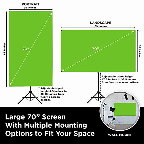 Valera Explorer 70 Inch Portable Green Screen for Streaming and Videos - Mounts on Tripod and Wall | Only 8 lbs | 2 min Setup | 16:9 Format | ChromaBoost Fabric with High Vibrancy for Low Lighting by On the Go Screens (Image #1)