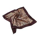 Premium Silk Feel Animal Print Square Satin Scarf, Camel w/ Solid Border