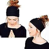 #8: OrliverHL Women's Fashion Elastic Headband Wide Non Slip Hair Band for Yoga Running Workout or Travel,Black