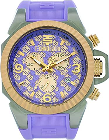 TechnoSport TS-100-9RL Womens Lavender Silicone Band, Gold Bezel, 40MM Lavender and Gold Dial,Stainless Steel Chronograph (Gold Mercer Watch)