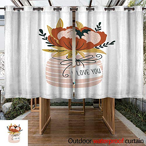 RenteriaDecor Outdoor Curtains for Patio Sheer Hand Drawn Flowers in The vase with tag I Love You Scandinavian Style Vector Illustration Modern and Elegant Home Deco W55 x L72