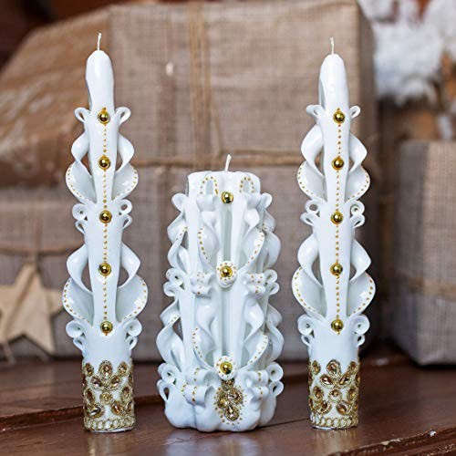 Unity candle set for wedding ceremony - white gold carved taper candles and pillar candle ()