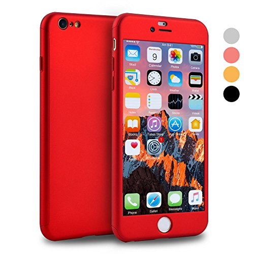 iPhone 6s Plus Case, VANSIN 360 Full Body Cover Ultra Thin Protective Hard Slim Case Coated Non Slip Matte Surface with Screen Protector for Apple iPhone 6 Plus & iPhone 6s Plus (5.5'') - (Red) (Metallic Red Iphone 6 Plus Case)
