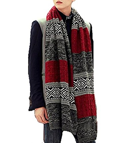 High-Grade Men's Warmth Jacquard Knit Business Color Comb Scarf,the Perfect Gift for Boyfriend,Husband and Father. (Snow White Outfit Ideas)