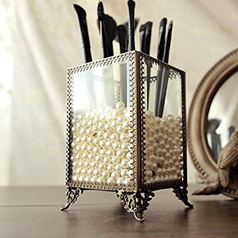 5263e144d1e PuTwo Makeup Organiser Premium Glass Vintage Makeup Brushes Holder with  White Pearls - Small  Amazon.co.uk  Kitchen   Home