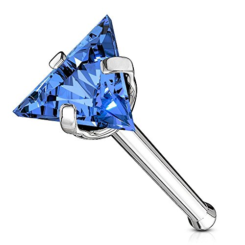 Ball In Silver Nose Bone - Covet Jewelry Triangle CZ Top 316L Surgical Steel Nose Bone Stud Rings (20GA, Length: 8mm, Ball: 3.5mm, Blue)