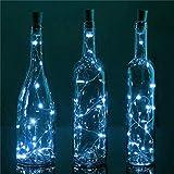 6 Pack 20 LED Wine Bottle Light, Novadeal Cork Shape Light Bottle Mini String Lighting Copper Wire light For Christmas Wedding and Party Decoration - White
