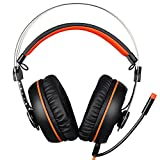 Sades A7 7.1 Surround Sound Stereo Gaming Headset With USB LED MIC And Vibration Headphone For PC Black And Orange (2016 Newest Version)