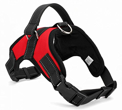 WIGGLE TAIL No Pull Dog Harness with Handle, Reflective Adjustable Vest Harness for Small/Medium/Large Dogs in Training Walking and Hiking(Red Oxford, Medium)