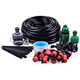 "irrigation hose - MIXC 1/4-inch Drip Irrigation Kits Accessories Plant Watering System with 50ft 1/4"" Blank Distribution Tubing Hose, 20pcs Dripers, 19pcs Barbed Fittings, Support Stakes, Quick Adapter, Model: GG0C"