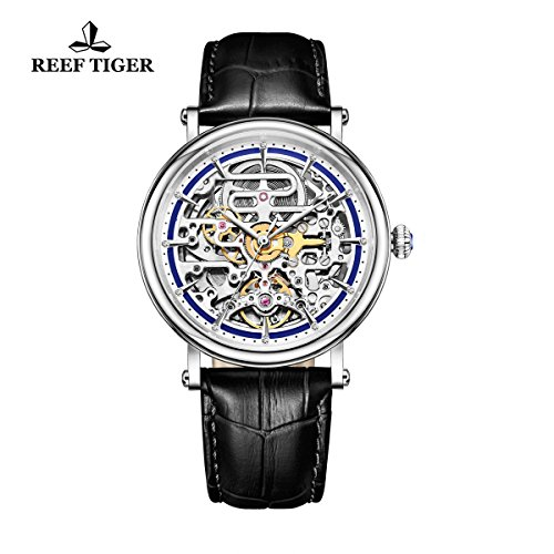 Reef Tiger Business Vintage Watches for Men Ultra thin Skeleton Dial Calfskin Leather Strap Watch RGA1917 by REEF TIGER