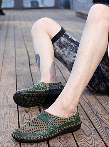 mesh casual slip on scarpe confortevole nuovo traspirante Scarpe uomo moda in Scarpe estate pelle uomo in Atrovirens morbido vera estive Xwvq75g